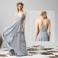 Bridesmaid Dress Medium Gray Chiffon Dress Wedding Dress,V Neck Spaghetti Strap Maxi Dress,Ruffled Skirt Illusion Back Evening Dress(H590) by RenzBridal on Etsy https://www.etsy.com/listing/556705414/bridesmaid-dress-medium-gray-chiffon