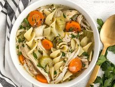 The chunky vegetables and tender egg noodles in this savory Homemade Chicken Noodle Soup will fill your belly and soothe your soul. Step by step photos.