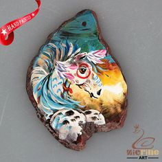 NEW! HAND PAINTED HORSE AGATE SLICE GEMSTONE NECKLACE PENDANT ZP80 00029 #ZL #PENDANT