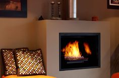 Large gas fireplace insert  from Town & Country Fireplaces - TC42 with Black Diamond Burner and Black Porcelain Panels