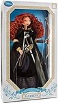 Merida Manufacturer: Disney Brand: Disney / Pixar Release Date: June 2012 For ages: 4 and up UPC: 843852060132 Details (Description): Our Limited Edition Merida Doll captures the adventurous spirit and beauty of our newest heroine from Disney / Pixars Brave. With her mass of fiery red curls and luxurious gown, Merida makes a headstrong addition to your doll collection!     Ebony gown of sumptuous velvet     Gown accented with pleated gold organza at cuff and collar     Skirt is finished with…