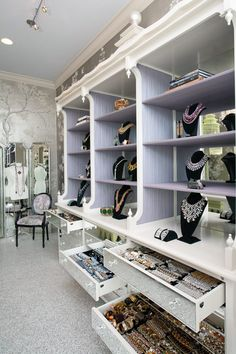 Can you imagine? dressing room with a massive amount of accessories on display (House of Lavande)