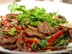 » Thaisalat med oksekjøtt, paprika, reddiker, agurk og koriander