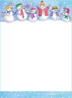 Snowmen on stationery Christmas Border, Christmas Frames, Christmas Paper, Christmas And New Year, Christmas Cards, Free Printable Stationery, Christmas Stationery, Borders For Paper, Theme Noel