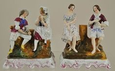 Pair of Antique Dresden German Porcelain Courting Couple Figurines mid 19th Century