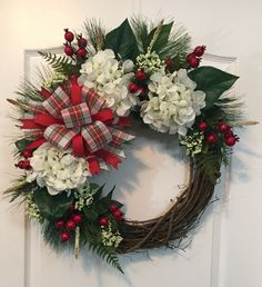 Christmas, Hydrangeas, Grapevine Wreath