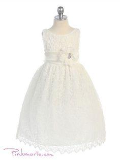 Ivory Elegant Soft Lace Girl Dress