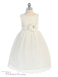 Ivory Elegant Soft Lace Girl Dress