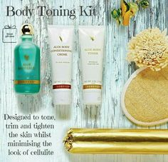 Want to tone, trim and tighten your skin, whilst minimising the look of cellulite? Try the Aloe Body Toning Kit by Forever, which is designed to help develop a slender and smooth appearance. Includes signature products Aloe Body Toner, Aloe Body Conditioning Crème and Aloe Bath Glee (also sold separately), plus a loofah mitt and cellophane wrap.  http://styledevie.flp.com/products.jsf