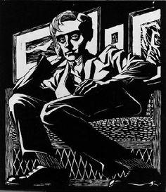 M.C. Escher – Self Portrait in a Chair. 1920 Woodcut. 168mm x 195mm.