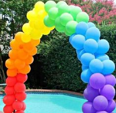 Remember this for Caroline's birthday party.how to make a balloon arch for any party theme. Rainbow Balloon Arch, Ballon Arch, How To Make Balloon, Sweet 16 Parties, Sweet 16 Party Themes, Rainbow Birthday, Diy Party, Party Ideas, Craft Party
