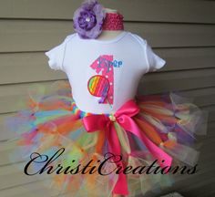 Lollipop--Baby Girl 1st Birthday Petti Tutu Set--Candy-- Party Outfit--Personalized on Etsy, $73.95
