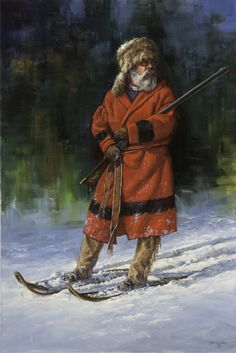 The Fur Trapper oil by Gerry Metz kp Canadian History, Canadian Art, American History, American Women, Le Castor, Mountain Man Rendezvous, Hunting Art, Fur Trade, West Art