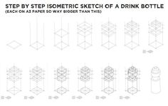 Isometric drink bottle sketch - step by step process for teaching junior DVC students how to use crating for alignment and proportion.