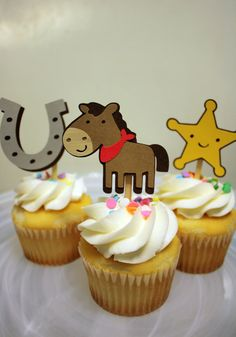 Cowboy Cupcake Topper Set / Cake Toppers / Mini Cupcake Toppers / Centerpieces