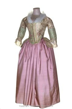 Bodice c.1760-1770  cinnamon ivory silk brocade with polychrome floral motifs, applications curled green silk taffeta, lace, silk.[ Skirt modern completion]