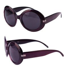 56027d15b2 Womens Fashion Circle Round Jackie O Bold Chic Sunglasses P547 -  Purple-smoke Lens -