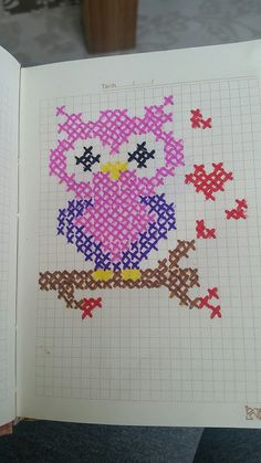This Pin was discovered by Esm Cross Stitch Owl, Cross Stitch Cards, Simple Cross Stitch, Cross Stitch Designs, Cross Stitching, Cross Stitch Embroidery, Cross Stitch Patterns, Hand Embroidery Patterns, Quilt Patterns Free