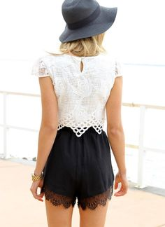 lace shorts and lace crop top for the beach