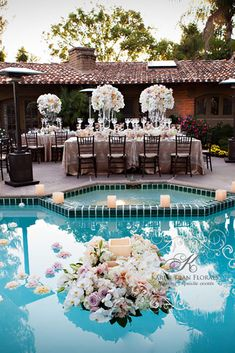 wedding pool party decoration ideas white flower rancho valencia resort wedding