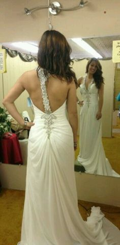 Open back wedding dress/ fun vegas wedding type dress.