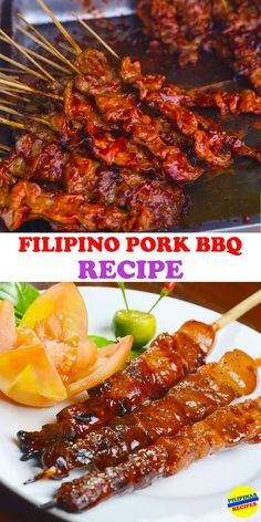 Pork Barbecue The Filipino Pork Barbecue is everyone's favorite where the skewers are grilled on fire right in front of you.The Filipino Pork Barbecue is everyone's favorite where the skewers are grilled on fire right in front of you. Filipino Pork Barbecue Recipe, Barbecue Recipes, Grilling Recipes, Meat Recipes, Asian Recipes, Cooking Recipes, Filipino Food, Vegetarian Grilling, Healthy Grilling