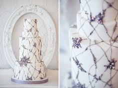 Colorful Web of Pearls Wedding Cake