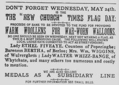 Warm Woolens for War-Worn Walloons. Satical ad produced by the Wipers Times. The New Church Times. 22 May, 1916.