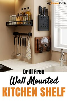 Kitchen Organization Declutter & keep your kitchen organized with these wall mounted kitchen shelves Kitchen Organization Pantry, Diy Kitchen Storage, Home Decor Kitchen, Kitchen Organizers, Organized Kitchen, Kitchen Walls, Decor For Kitchen Counters, Organizing Kitchen Counters, Organizing Ideas For Kitchen
