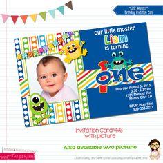 Monster Birthday Invitation Card Little Monster by EZPARTYKITS