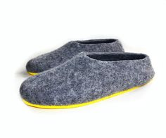Mens slippers, felt slippers, felted slippers Yellow Gray Gray Rubber Soled slippers Custom made in 5 days. Ships worldwide
