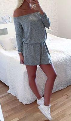 Pure Color Off Shoulder Long Sleeve Short Dress