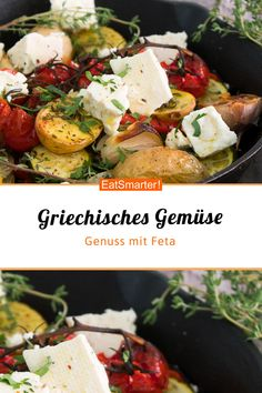 Greek vegetables with feta- Griechisches Gemüse mit Feta Greek vegetables with feta cheese – smarter – calories: 357 kcal – time: 15 min. Salad Recipes Healthy Lunch, Salad Recipes For Dinner, Chicken Salad Recipes, Healthy Lunches, Greek Vegetables, Oven Vegetables, Eggplant Moussaka, Moussaka Recipe, Queso Feta