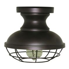 allen + roth 8.4-in W Bronze Metal Semi-Flush Mount Light