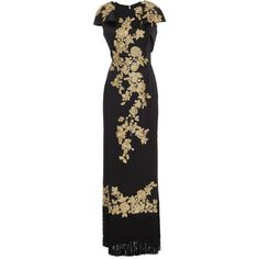 133c2750bf3d7 Marchesa Cap Sleeve Floral Embroidered Satin Gown ( 6