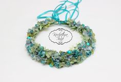 Turquoise floral crownFlower haloFlower by ByKochetova on Etsy