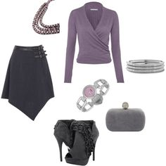 Lavender and grey.  Great skirt and shoes!