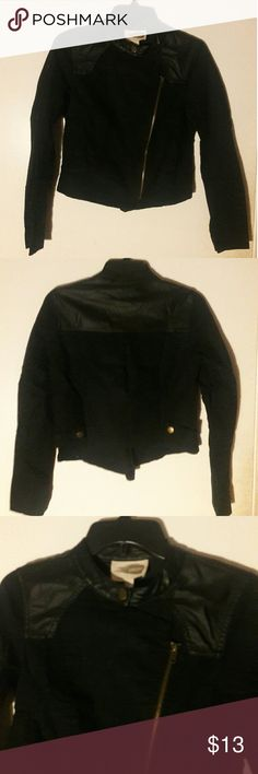 Forever 21 black jacket with faux leather Black jacket with faux leather and assymetrical zip. Good condition! Forever 21 Jackets & Coats