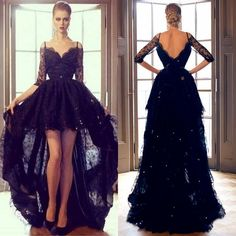 2015 Black Lace Hi Lo Evening Formal Dresses Sexy Off Shoulder High Low Long Sleeve Prom Party Dress High Quality from Missudress,$141.37   DHgate.com