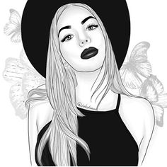 Find images and videos about girl, beautiful and art on We Heart It - the app to get lost in what you love. Tumblr Girl Drawing, Tumblr Drawings, Girl Drawing Sketches, Girly Drawings, Cool Art Drawings, Girl Sketch, Beautiful Drawings, Tumblr Outline, Outline Art