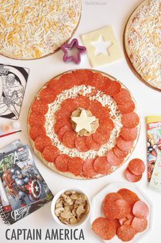 Pizza Party Captain American Party - Birthday pizza party for super heroes!Captain American Party - Birthday pizza party for super heroes! Avengers Birthday, Superhero Birthday Party, 6th Birthday Parties, Birthday Fun, Batman Party, Super Hero Birthday, Ironman Birthday, Birthday Ideas, Avenger Party