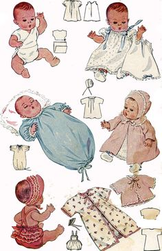 1930s Dydee Doll Clothes PATTERNS for 18 inch dolls Coat Bonnet Ruffled Sunsuit