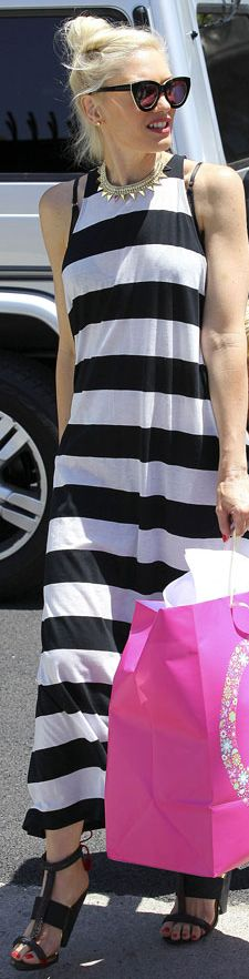 Gwen Stefani in an ultra-cool striped maxi and bold black shades