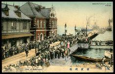 Pier of Yokohama 手彩色絵葉書トンボヤ横浜桟橋明治大正時代