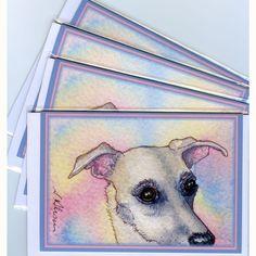 Whippet Greyhound cards by Susan Allison Art