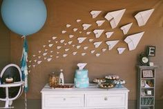 vintage pretty: Paper Airplane First Birthday // would be cute for a boys baby shower too! But maybe hang em from the ceiling!