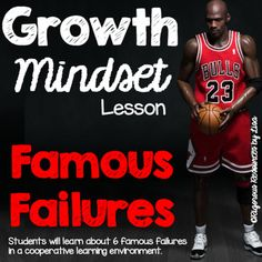 This growth mindset lesson, Famous Failures, will have your students working collaboratively to learn about 6 famous failures and how they overcame obstacles on their path to success. Your students will learn to overcome obstacles, accept challenges and they will understand that mistakes are okay, and often necessary to be successful.