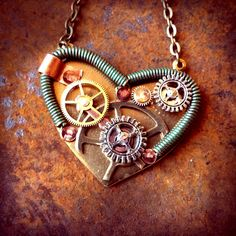 Steampunk Heart with Springs and Rivets by ColdGarageCreations on Etsy