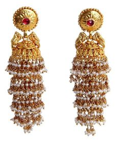 Jhumkas latest jewelry designs - Page 10 of 75 - Indian Jewellery Designs Pearl Jhumkas, Gold Jhumka Earrings, Gold Earrings Designs, Indian Earrings, Pearl Earrings, India Jewelry, Pearl Jewelry, Wedding Jewelry, Gold Jewelry