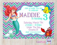 Little Mermaid Invitation Ariel Invitation, Click to see details, Use Coupon Code PIN15 to get 15%off - CutePixels shop  http://etsy.me/1S7ksKd                                                                                                                                                     Más